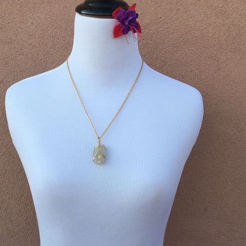 Wire Wrapped Crystal Stone Gold Necklace
