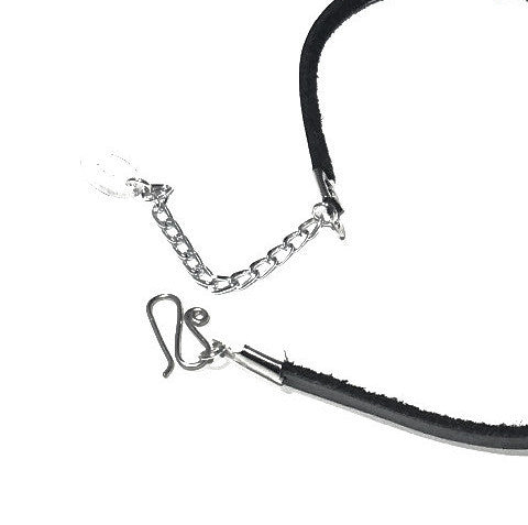 Black Leather Choker w/large heart pendant