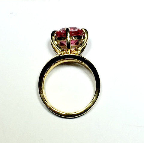 Pink Cubic Zirconia Gold Ring