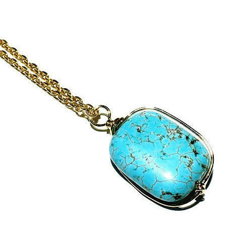 Wire Wrapped Turquoise Stone Gold Necklace
