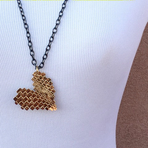 Gold Heart Black Chain Necklace