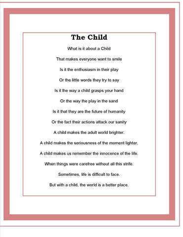The Child  Poem  ( By Todd Kaudy)