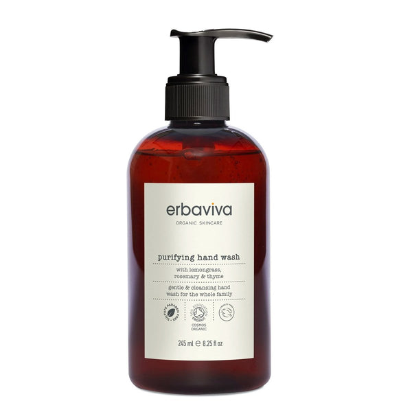 erbaviva purifying hand wash with lemongrass, rosemary, and thyme.