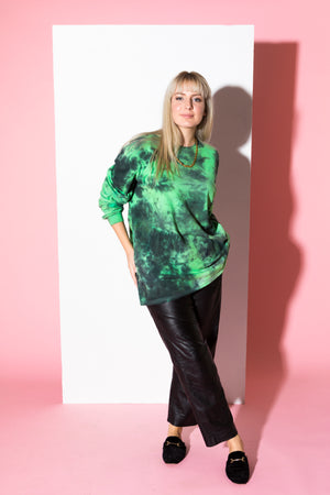 Alien Black and Green Tie Dye Long Sleeve Shirt