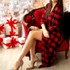 Women's Red Christmas Robe Long Length from Silky Bamboo Jersey