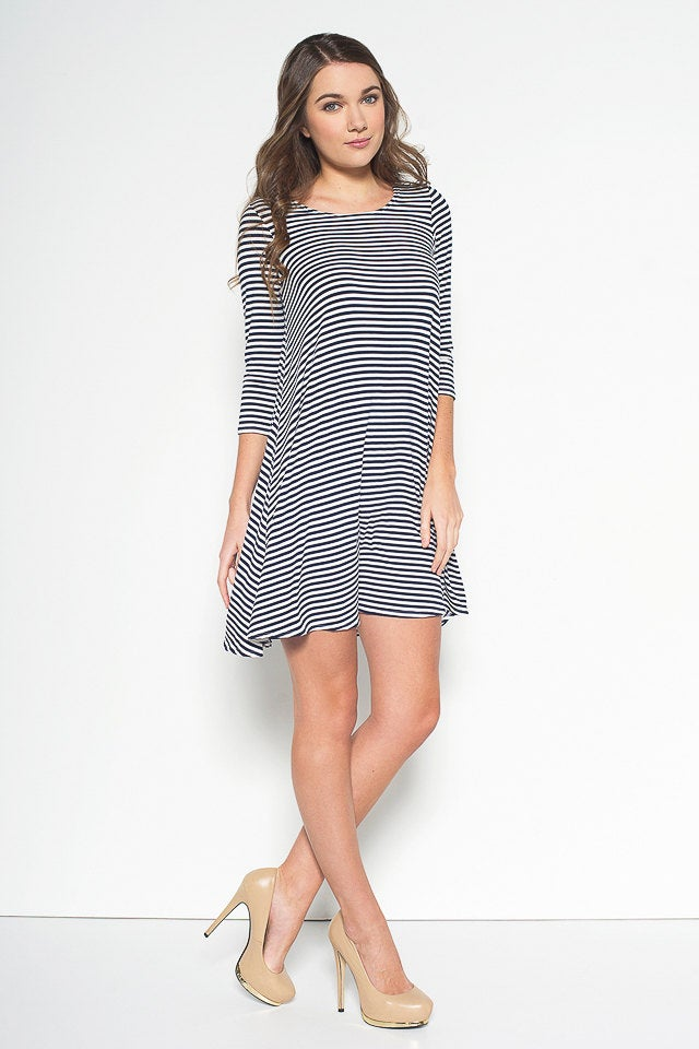 Nautical Striped Swing Dress with Sleeve - Masha Apparel