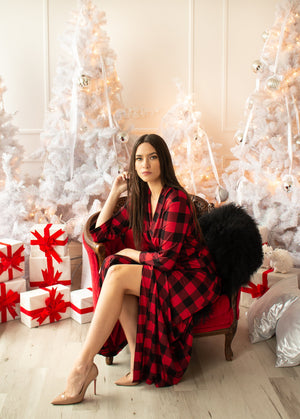 Women's Red Christmas Robe Long Length from Silky Bamboo Jersey available in Plus Size <Ladies Loungewear>