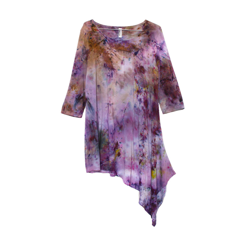 Asymmetrical Purple Tunic Top Plus Size Tie Dye Pattern