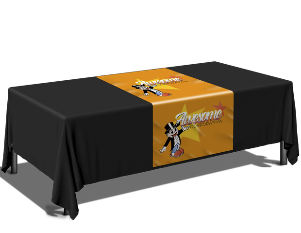 Full color print table runner with Solid Throw