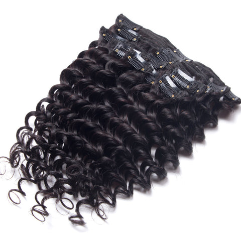 Exotica Collection: 7 Piece Clip In Brazilian Deep Wave Virgin Remy Hair Extensions