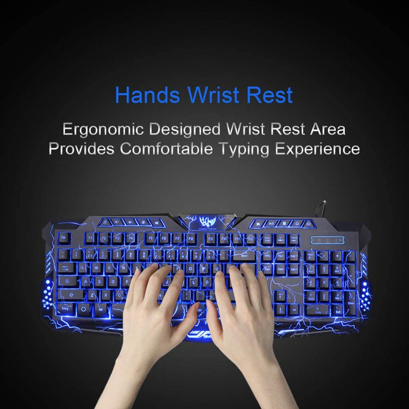 BlueFinger Backlit Gaming Keyboard and Mouse and LED Headset Combo,USB Wired -USA Stock
