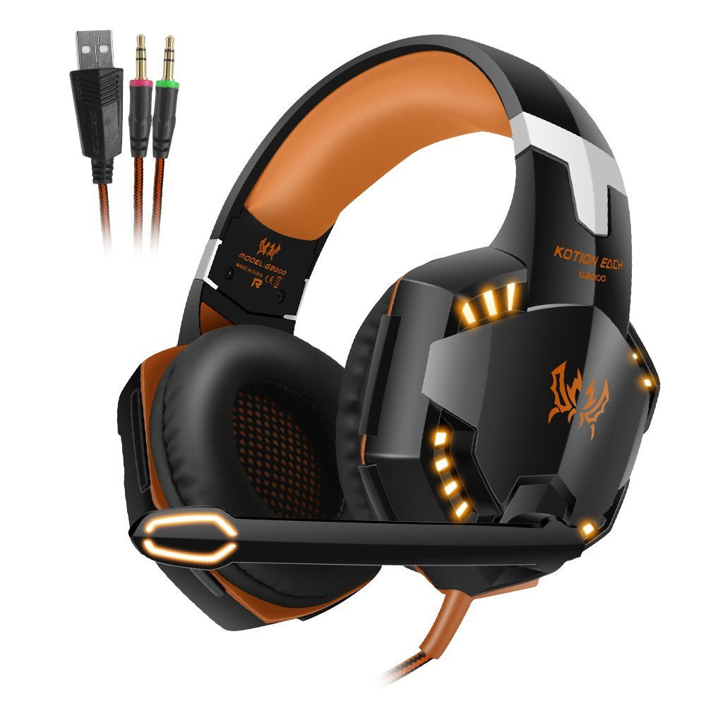 LED Lighting 3.5mm Stereo Gaming Over-Ear Headset with Mic for PC Computer Game with Noise Cancelling Blue - Enterprises Software Solutions