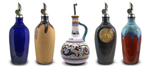 handmade olive oil and vinegar cruets italian ceramics