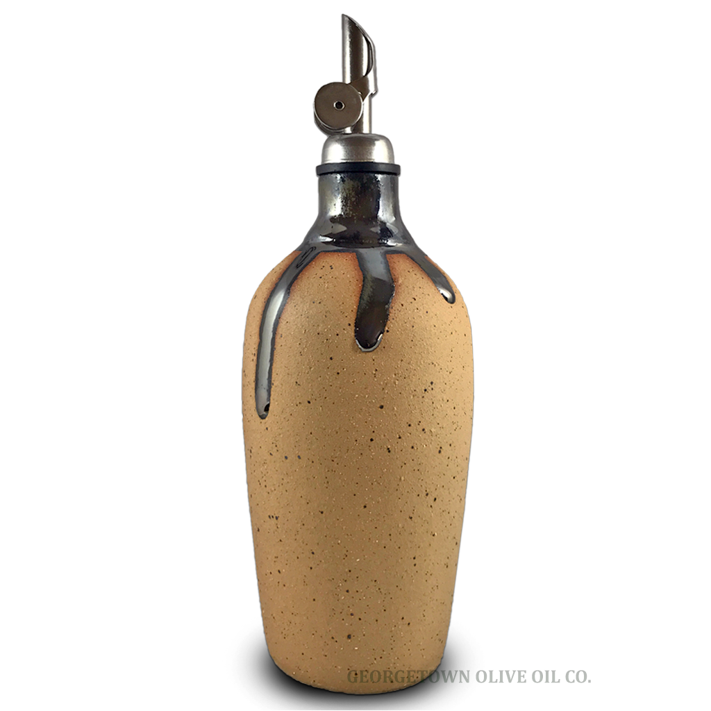 Handmade Olive Oil Cruet - Bisque with Black - Georgetown Olive Oil Co.