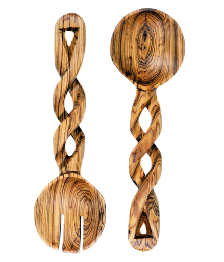 Twisted Wild Olive Wood Salad Servers