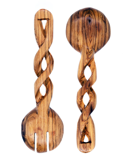 Twisted Wild Olive Wood Salad Servers - Georgetown Olive Oil Co.