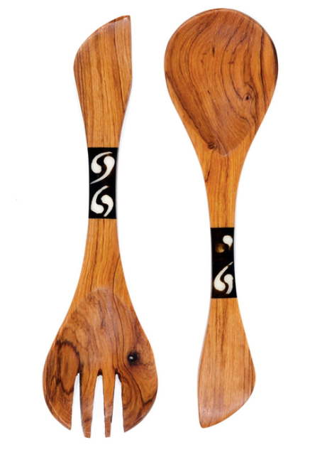 Spoon and Fork Set with Batik Bone - Georgetown Olive Oil Co.