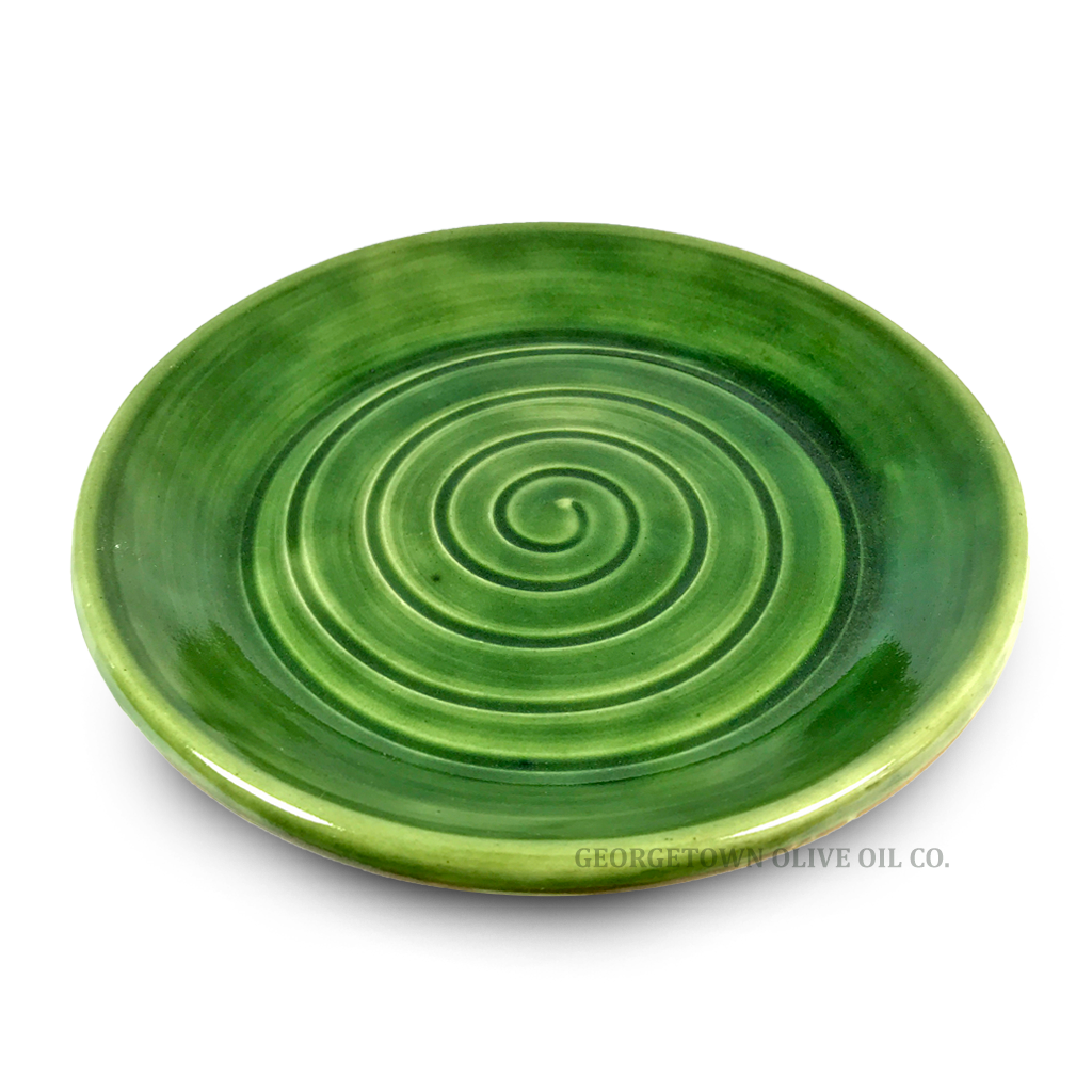 Handmade Olive Oil Dipping Plate - Green - Georgetown Olive Oil Co.