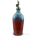 Handmade Olive Oil Cruet - Red and Blue - Georgetown Olive Oil Co.
