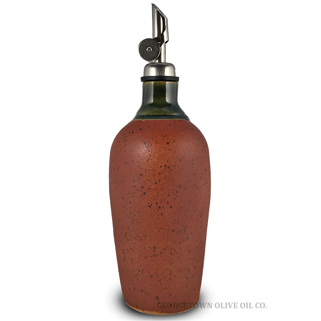 Handmade Olive Oil Cruet - Brown and Green - Georgetown Olive Oil Co.