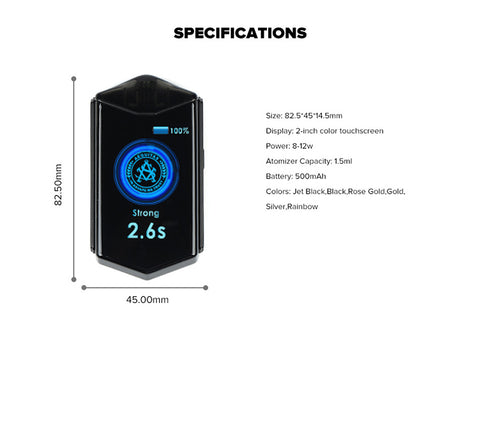 ASVAPE TOUCH POD SYSTEM specifications