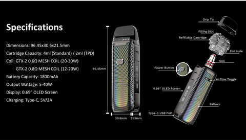 Vaporesso LUXE PM40 Kit 1800mAh specifications
