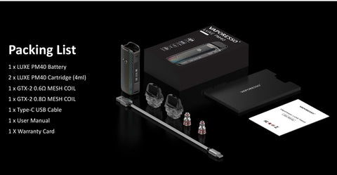 Vaporesso LUXE PM40 Kit 1800mAh package