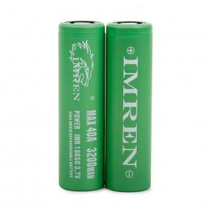 Green IMREN 3200mAh 18650 Batteries 40 AMP 2-Pack