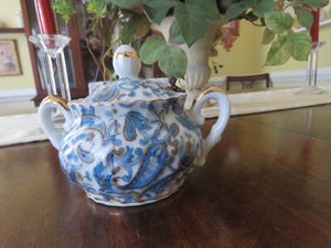 Blue Paisley Sugar Bowl by Lefton Sugar Bowl- Carolina China Collectibles