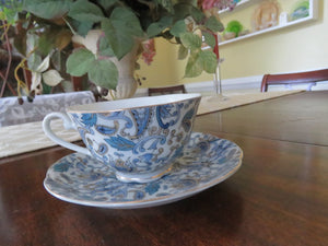 Blue Paisley Cup & Saucer by Lefton Cup & Saucer- Carolina China Collectibles