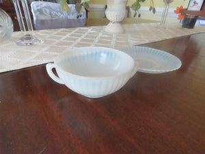Depression Glass Cream Soup Bowl And Saucer