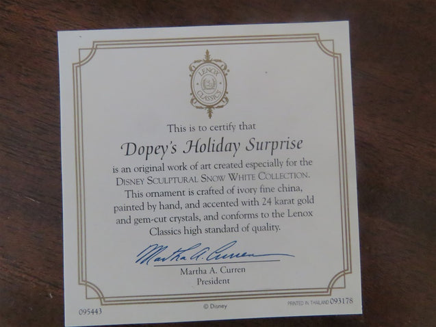 Lenox Dopey's Holiday Surprise Ornament