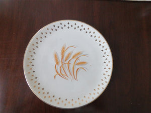 Golden Wheat Fleur De Lis Bread Plate