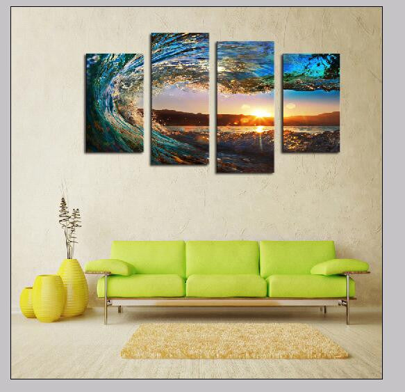 4 Panel Wave Canvas Set (Framed - Ready To Hang) Art