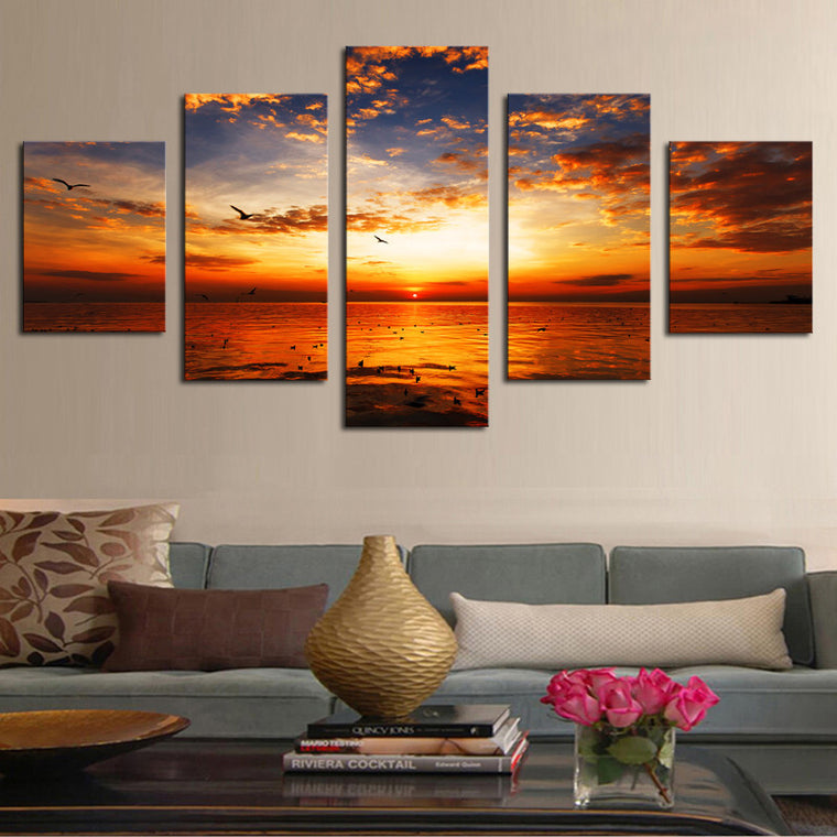 5 Panel Beach Sunset Canvas Set (Framed - Ready To Hang) Art