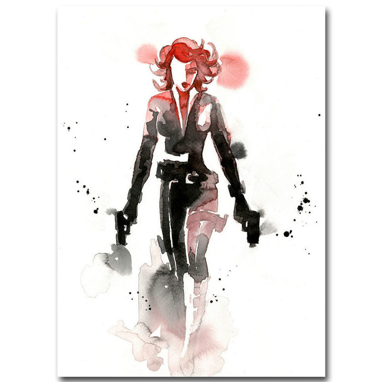 Black Widow - Watercolor Minimalist Silk Poster Art