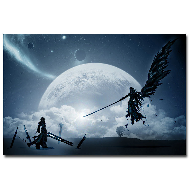Cloud VS Sephiroth Moonlight - Final Fantasy Silk Poster Art