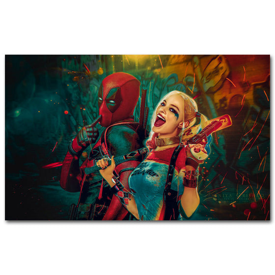 Deadpool and Harley Quinn Silk Poster Art