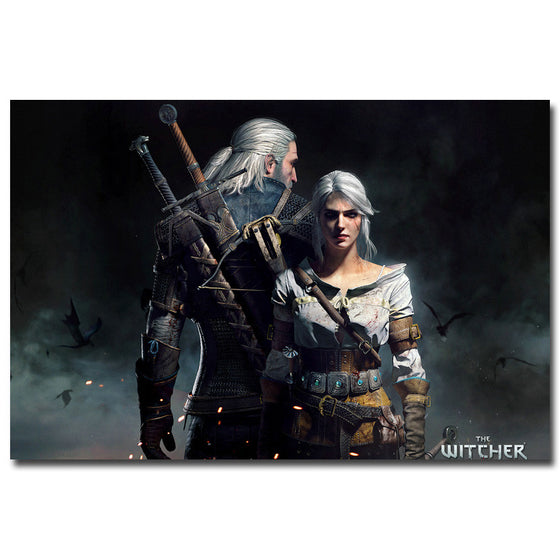 Geralt and Ciri - The Witcher 3 Wild Hunt Silk Poster Art