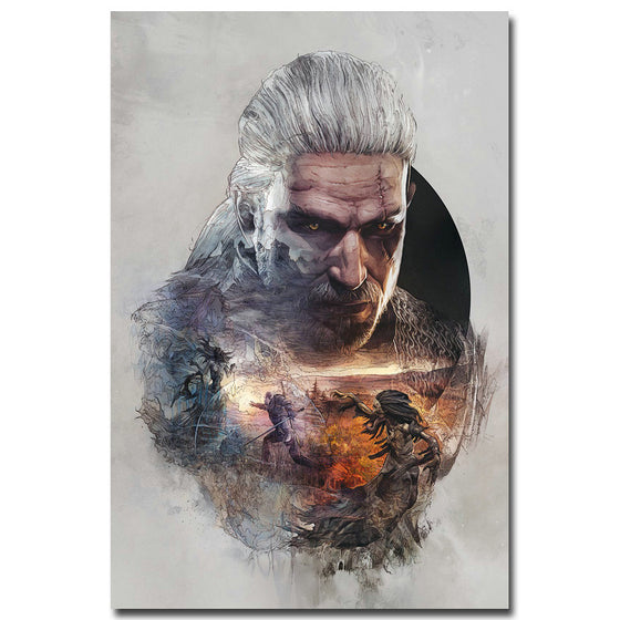 Geralt In Action - The Witcher 3 Wild Hunt Silk Poster Art