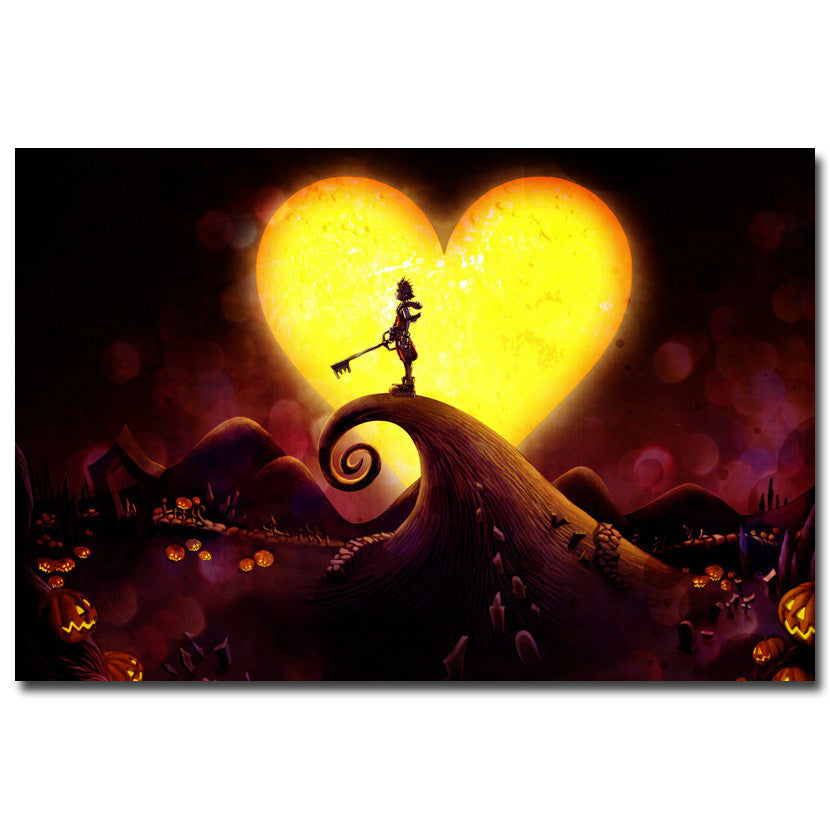 Kingdom Hearts - Sora and Keyblade in Halloween Town Silk Poster Art