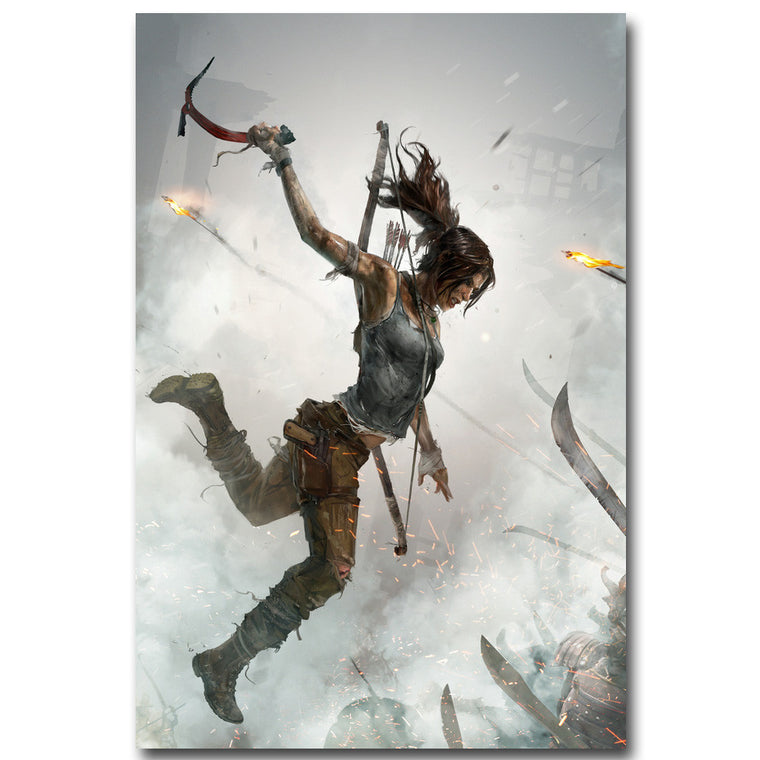 Lara Croft In Action Silk Poster Art