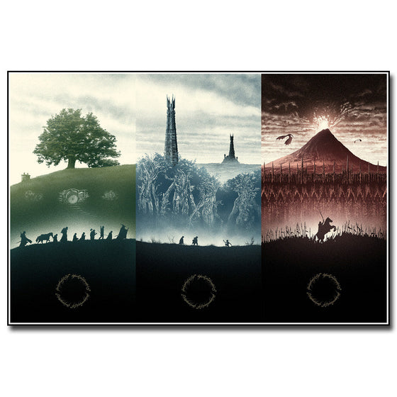 Lord of the Rings - The Journey in 3 Panels Silk Poster