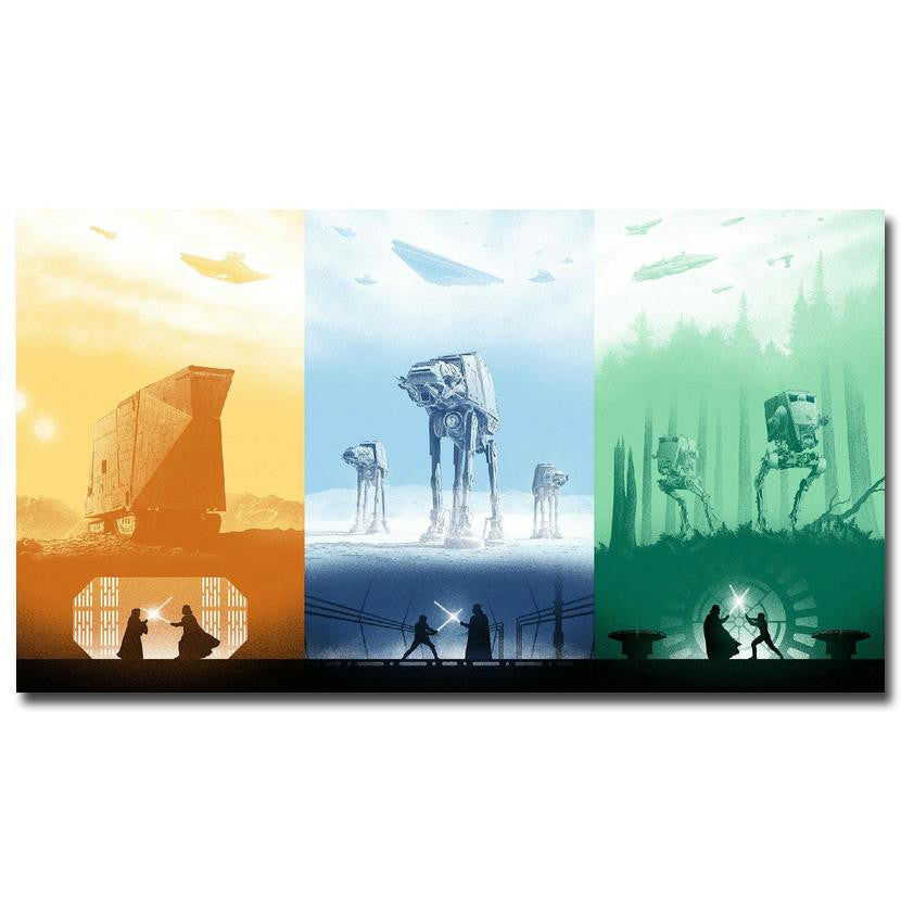 Star Wars - Episode IV, V, and VI Battles 3 Panel Silk Poster
