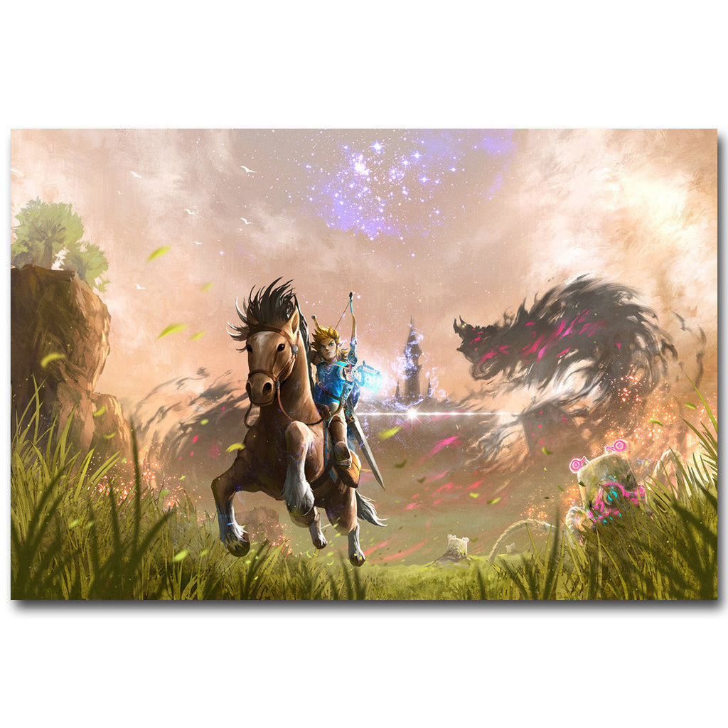 The Legend of Zelda Breath of The Wild Silk Fabric Poster Art