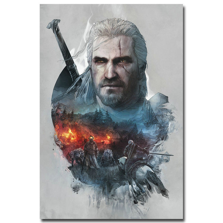 The Witcher 3 - Geralt Double Exposure Silk Poster Art