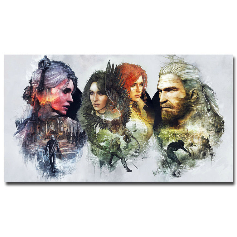 The Witcher 3 - Three Panel Double Exposure Silk Poster Art