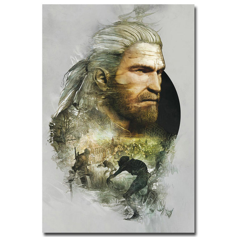 The Witcher 3 Wild Hunt - Geralt Double Exposure Style Silk Poster Art