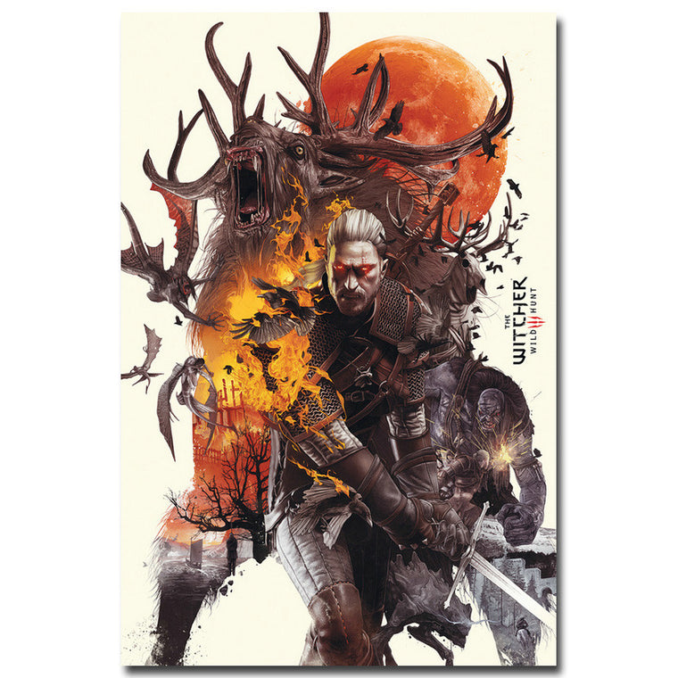 The Witcher 3 Wild Hunt - Geralt VS Monsters Silk Fabric Poster Art