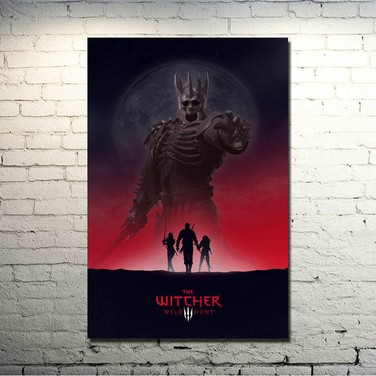 The Witcher 3 Wild Hunt - Wild Hunt and Silhouettes Silk Poster Art